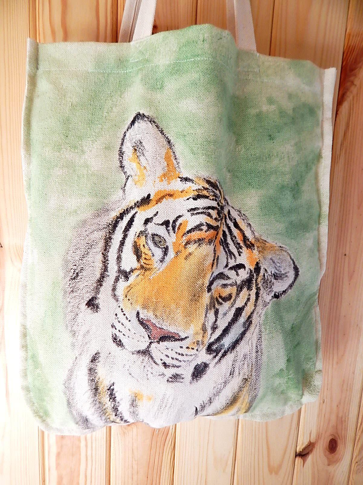 Kleinesbild - Zwei Taschen in ★Family look★ Tiger & Beutel & Naturbetel