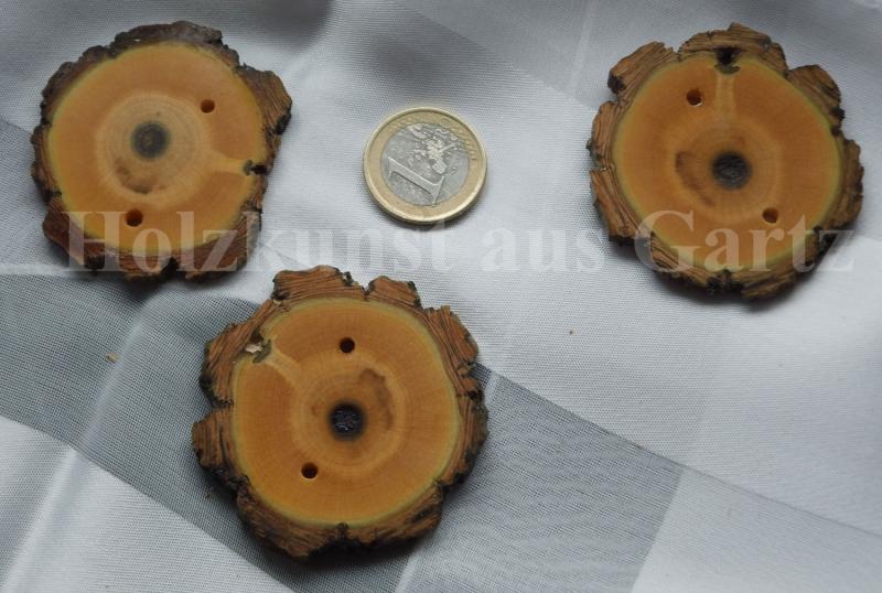 - 3 rustikale Zierknöpfe aus stabilisiertem Holz mit Rinde - 3 rustikale Zierknöpfe aus stabilisiertem Holz mit Rinde