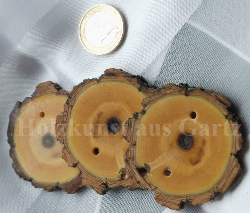 Kleinesbild - 3 rustikale Zierknöpfe aus stabilisiertem Holz mit Rinde