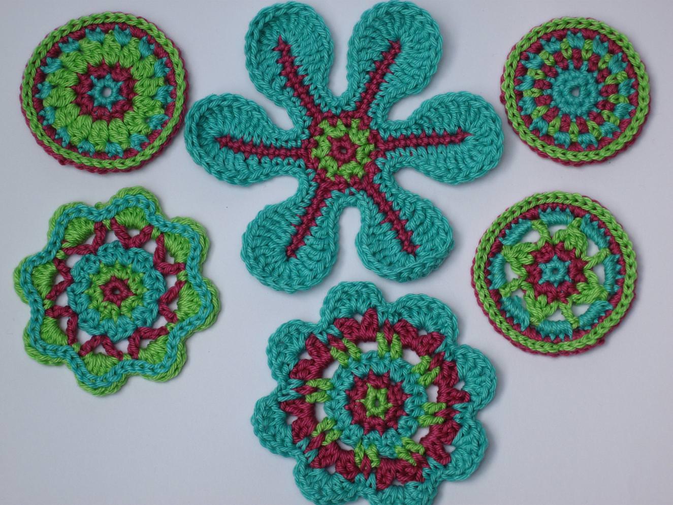 - Applikations Set: Häkelblumen, Rosetten, Aufnäher, Blumen - Applikations Set: Häkelblumen, Rosetten, Aufnäher, Blumen