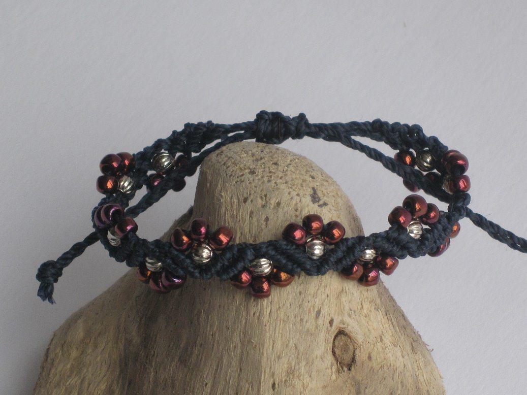 Kleinesbild - Armband, Macrame + Perlenmischung, Macrameschmuck, micro Macrame