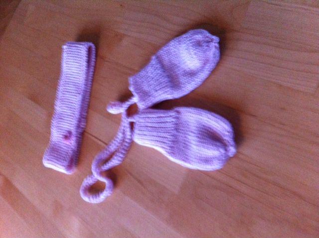 - Stirnband und Fäustlinge in rosa Handarbeit - Stirnband und Fäustlinge in rosa Handarbeit