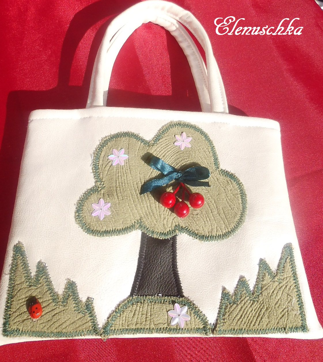 - Kinderhandtasche Baum mit Kirsche - Kinderhandtasche Baum mit Kirsche