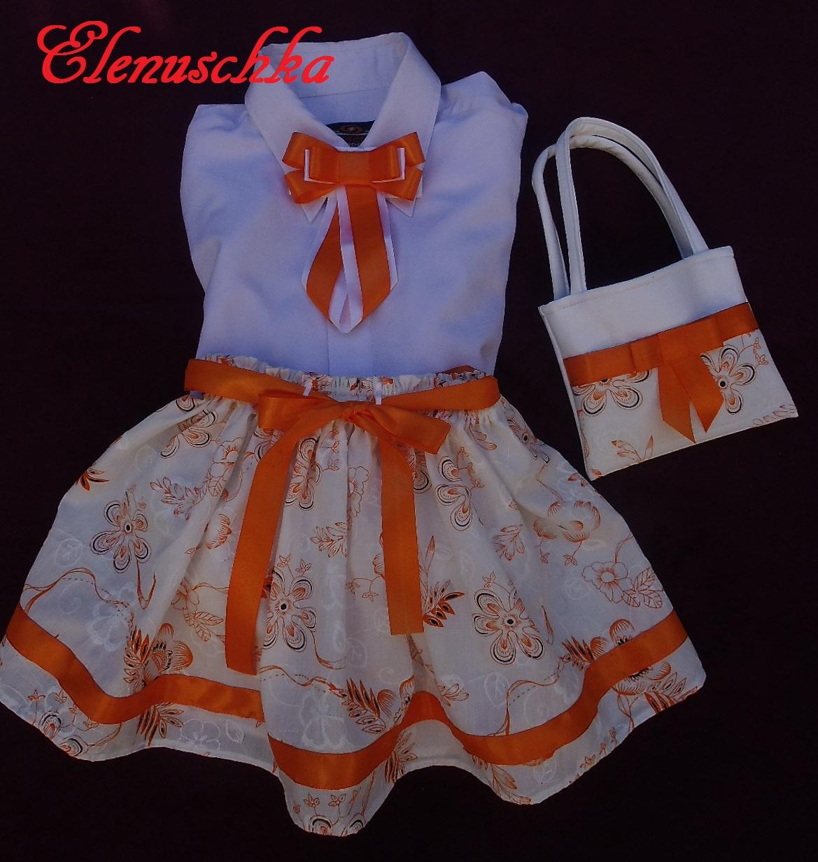 - Set für Mädchen: kurze Rock aus Baumwolle + Halsbroschen / Krawatten + Handtasche. - Set für Mädchen: kurze Rock aus Baumwolle + Halsbroschen / Krawatten + Handtasche.
