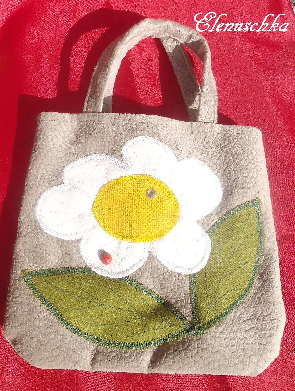 - Kinderhandtasche mit weiße Blume - Kinderhandtasche mit weiße Blume