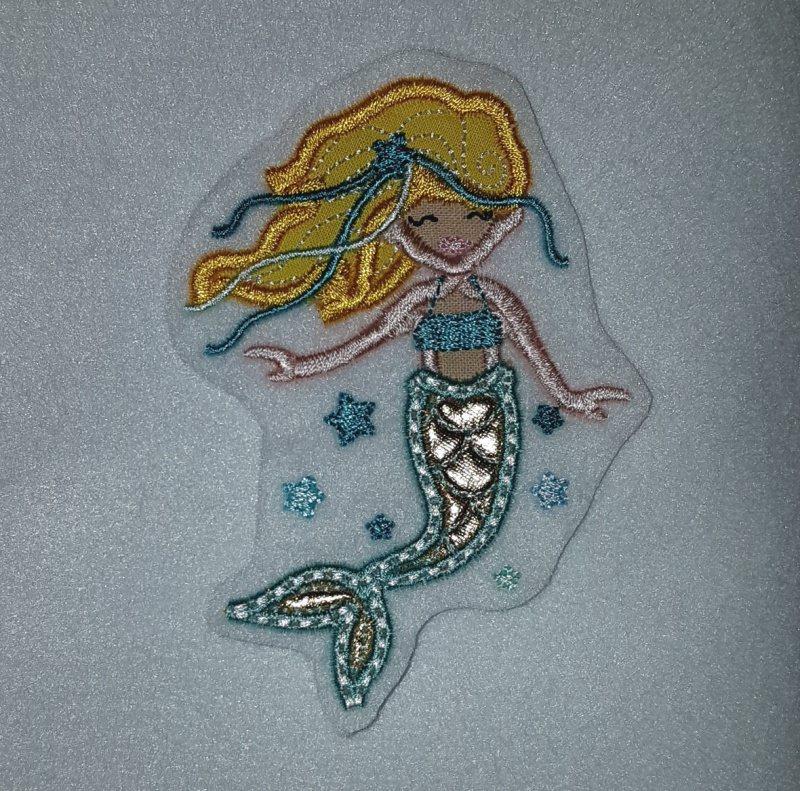 - gestickter Aufnäher, Stickapplikation, Aufnäher Meerjungfrau - gestickter Aufnäher, Stickapplikation, Aufnäher Meerjungfrau