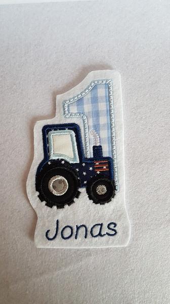 Kleinesbild - Applikation, Aufnäher , Stickapplikation, Geburtstag Zahl 1- 9 Traktor