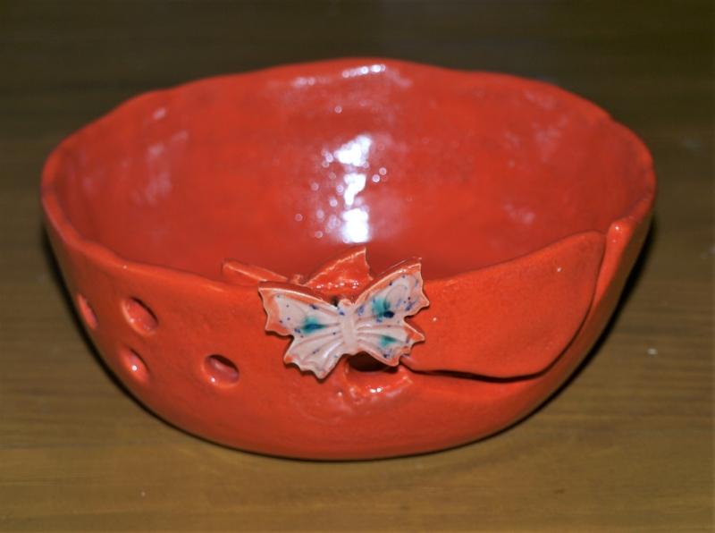 - Garn-schale in rot Keramik - Garn-schale in rot Keramik
