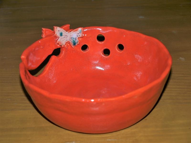 Kleinesbild - Garn-schale in rot Keramik