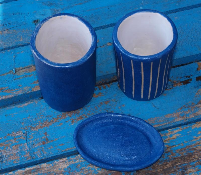Kleinesbild - Badezimmer Set - 2 Becher und 1 Seifenschale in blau
