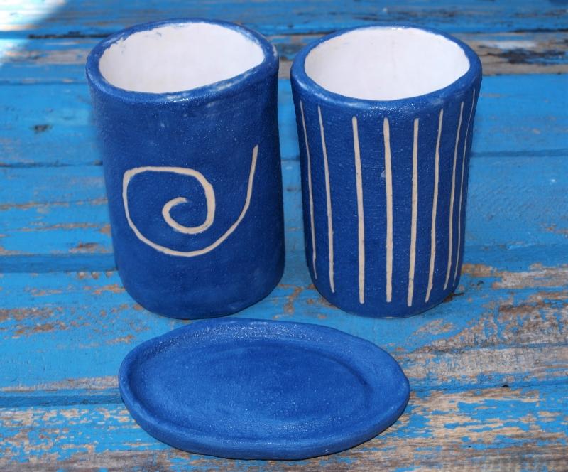 - Badezimmer Set - 2 Becher und 1 Seifenschale in blau - Badezimmer Set - 2 Becher und 1 Seifenschale in blau