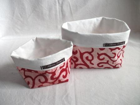 Kleinesbild - Körbchen Set selbst genäht aus afrikanischem Batikstoff in Rot und Weiß
