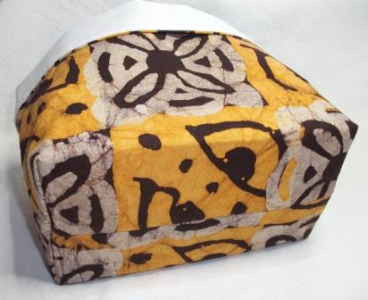 Kleinesbild - Körbchen genäht aus afrikanischem Batikstoff in Gelb, Natur und Dunkelbraun