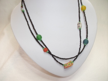 - Tolle Kette- aus handgefertigten afrikanischen Glasperlen, handgefertigt   - Tolle Kette- aus handgefertigten afrikanischen Glasperlen, handgefertigt