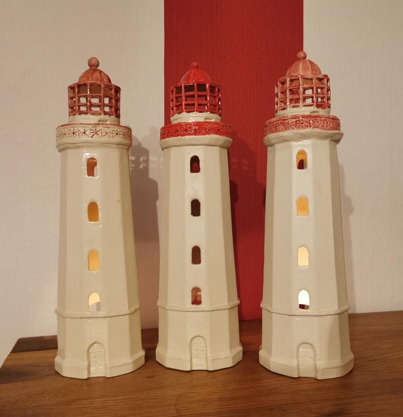 Kleinesbild - Keramikleuchttürmchen für kleine Teelichter , 30 cm hoch, 9,5 cm breit, handmade by Unikate Keramik D.W. , jetzt auch auf Palundu