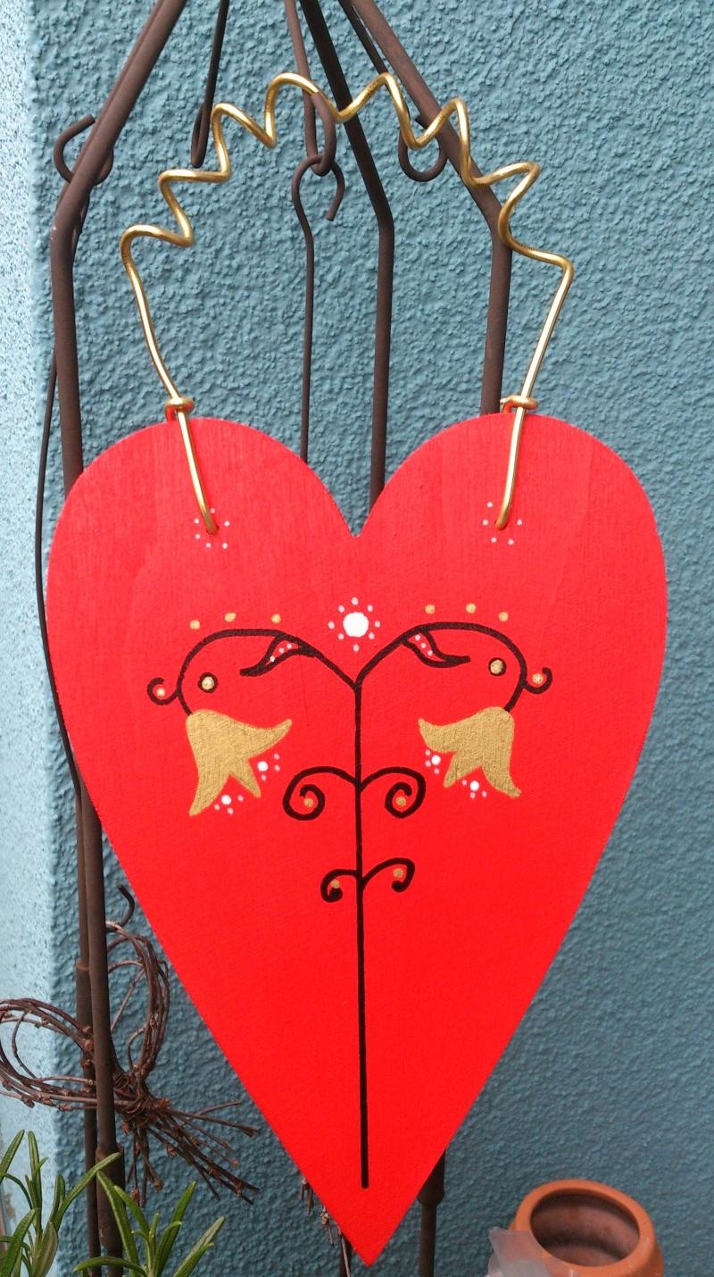 Kleinesbild - Holzherz Herz aus Holz zum Aufhängen bemalt, in rot  - Valentinstag