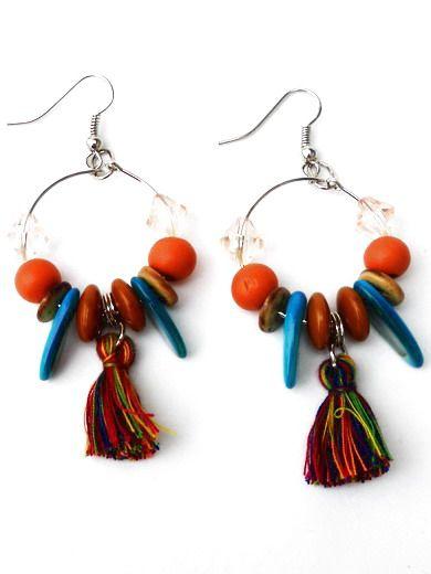 Kleinesbild - Boho Ohrringe Quaste, Perlen. Handgefertigte leichtgewicht Ohrhänger, Glasperlen, Muschel, Holz, Kokos. Ibiza Creolen braun, türkis, orange.