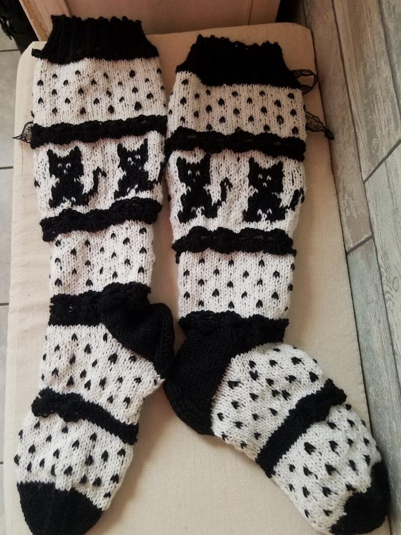 Kleinesbild - handgestrickte Kniestrümpfe, Cat, Knee tight Socks,Gr.38/39,Schwarz/ Weiß