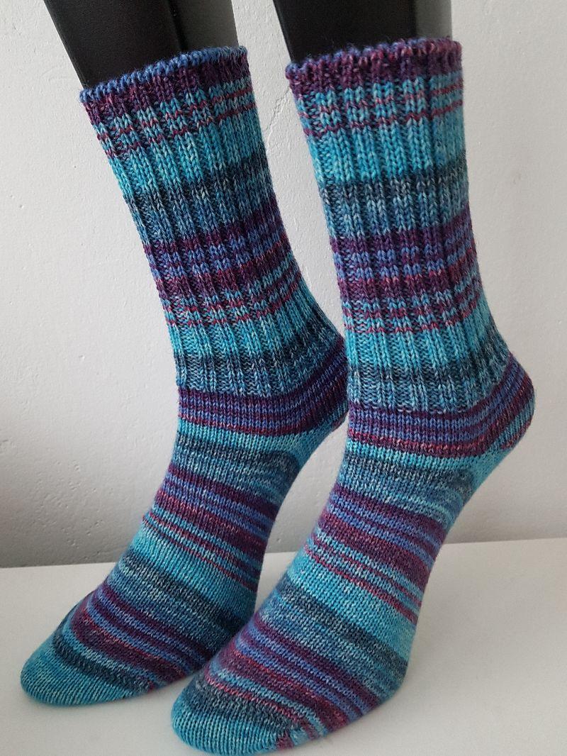 Kleinesbild - gestrickte Socken, Gr.38/39 Blau/Türkis/Lila