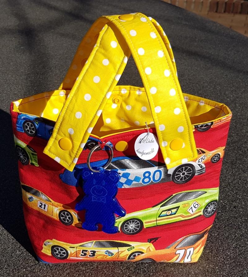Kleinesbild - rasante Lenkertasche oder Kindergartentasche mit Rennwagen - Muster und einem Reflektor