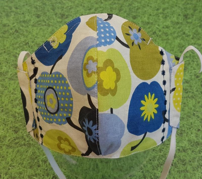 Kleinesbild - Behelfs-Mund-Nase-Schutz aus Baumwolle, waschbar--- blau-grün - blaue Stickung