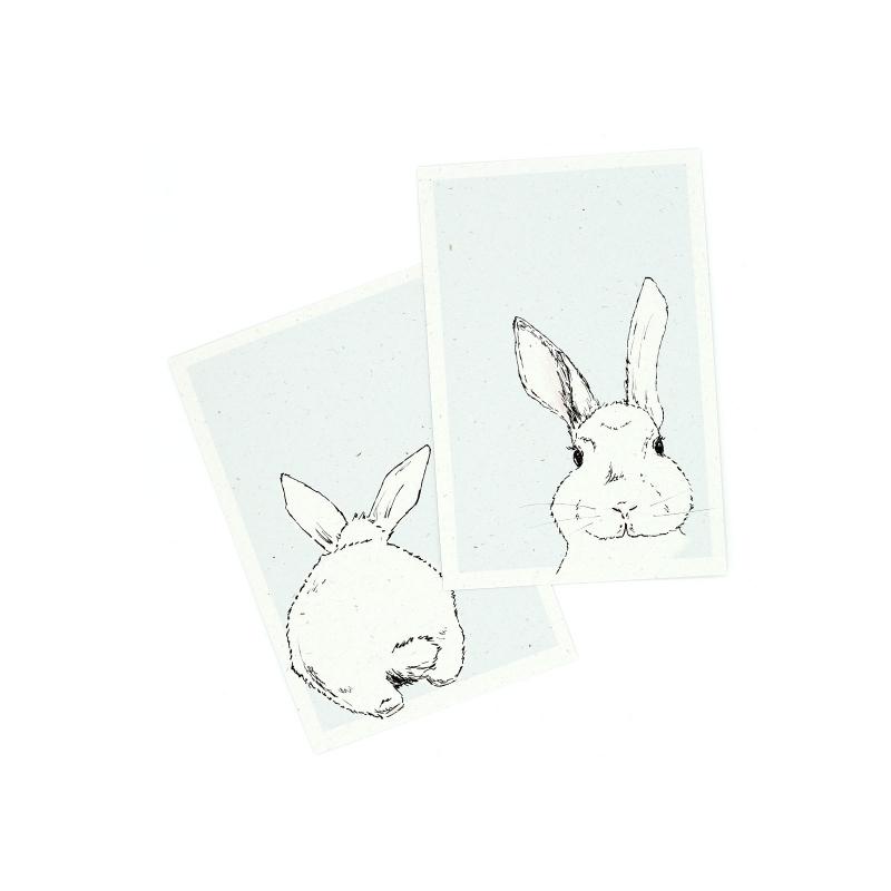 Anlässe : Postkarten 2er Set Hasen Karte Hase Kaninchen Ostern ...
