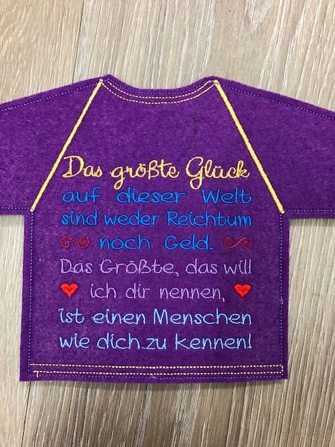 Kleinesbild - Lustiges Flaschen T-Shirt Geniale Idee für jeden Anlass/ Geschenke Handarbeit Stickerei