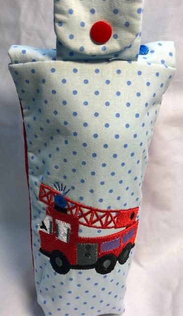 Kleinesbild - Flaschentasche Tasche Kindertasche Kinder 0,5l Feuerwehr, Durstlöscher,Stickerei Handarbeit