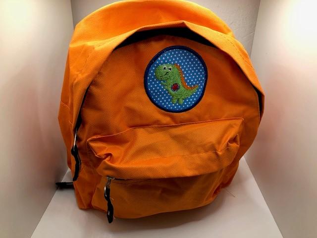 - Sehr schöner bestickter Rucksack für Kinder/ Kindergartentasche/ Rucksack Orange Dino - Sehr schöner bestickter Rucksack für Kinder/ Kindergartentasche/ Rucksack Orange Dino