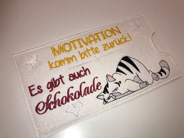 - Schokihülle Schokoladenhülle/ Schokitasche/ Schokiverpackung Handarbeit Motivation Katze - Schokihülle Schokoladenhülle/ Schokitasche/ Schokiverpackung Handarbeit Motivation Katze
