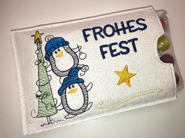 - Adventskalender to go mit Bonbons, gestickt Pinguine, witzige Geschenkidee  - Adventskalender to go mit Bonbons, gestickt Pinguine, witzige Geschenkidee