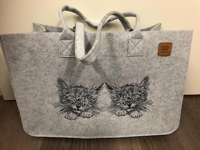 - Sehr schöne bestickte Filztasche/ Tragetasche/ Shopper Kätzchen, Katze - Sehr schöne bestickte Filztasche/ Tragetasche/ Shopper Kätzchen, Katze