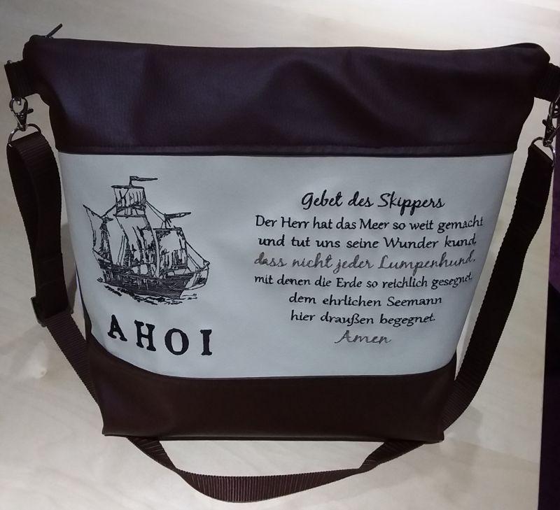 - Handtasche bestickt mit Spruch und Schiff - Handtasche bestickt mit Spruch und Schiff