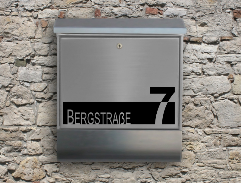 Kleinesbild - Briefkastentattoo in Wunschfarbe - Stripe 01 - Namensaufkleber - Adressaufkleber - Personalisiert - Individuell - Individualisierbar - Design Out Of Norm