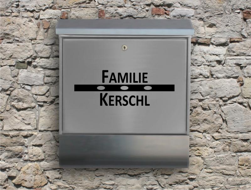 Kleinesbild - Briefkastentattoo in Wunschfarbe - Stripe 12 - Namensaufkleber - Adressaufkleber - Personalisiert - Individuell - Individualisierbar - Design Out Of Norm