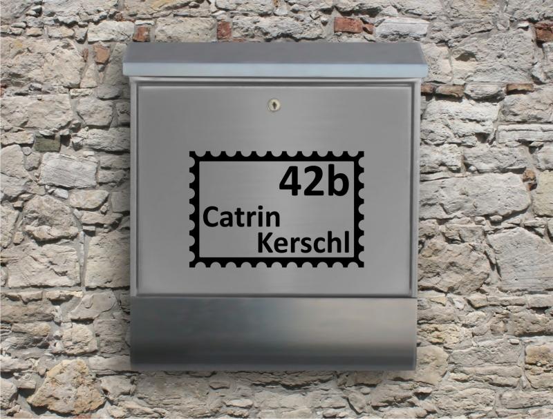 Kleinesbild - Briefkastentattoo in Wunschfarbe - Briefmarke - Namensaufkleber - Adressaufkleber - Personalisiert - Individuell - Individualisierbar - Design Out Of Norm