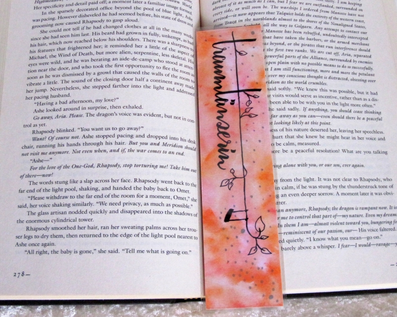 Kleinesbild - Lesezeichen, handgemalt, laminiert ☀ Traumtänzerin 07 ☀ FarbXplosion - Aquarell - Malerei - Pastell - Träume - Traum - Lesen - Buch - Bücher -  Einzelstück Design Out Of Norm