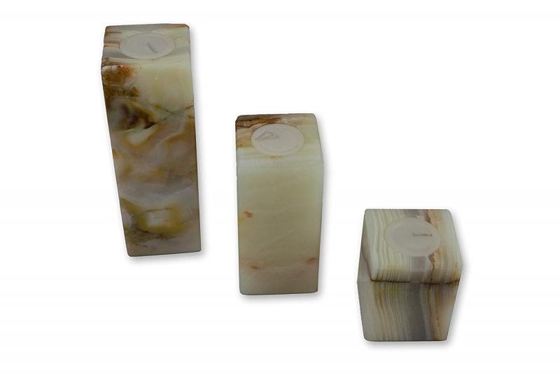 - Dreiteiliges Kerzenständer Set aus mexikanischem seltenem Onyx Marmor  - Dreiteiliges Kerzenständer Set aus mexikanischem seltenem Onyx Marmor