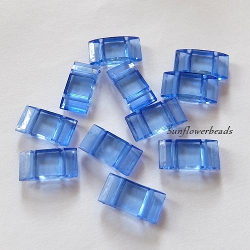 - 10x Trägerperlen aus Acryl mit zwei Fädellöchern, hellblau, blau, saphire, zum Umfädeln mit Delicas oder Rocailles, für Ketten, Armbänder, Anhänger usw. - 10x Trägerperlen aus Acryl mit zwei Fädellöchern, hellblau, blau, saphire, zum Umfädeln mit Delicas oder Rocailles, für Ketten, Armbänder, Anhänger usw.