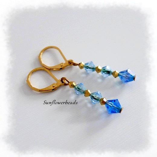 - Ohrringe mit Glasschliffperlen blau gold und Edelstahlbrisuren gold - Ohrringe mit Glasschliffperlen blau gold und Edelstahlbrisuren gold