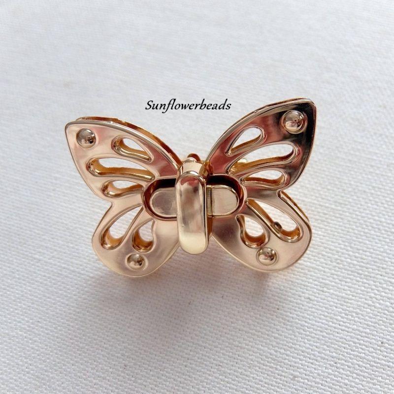 - Großer Taschenverschluss gold, Drehverschluss, Schmetterling  - Großer Taschenverschluss gold, Drehverschluss, Schmetterling