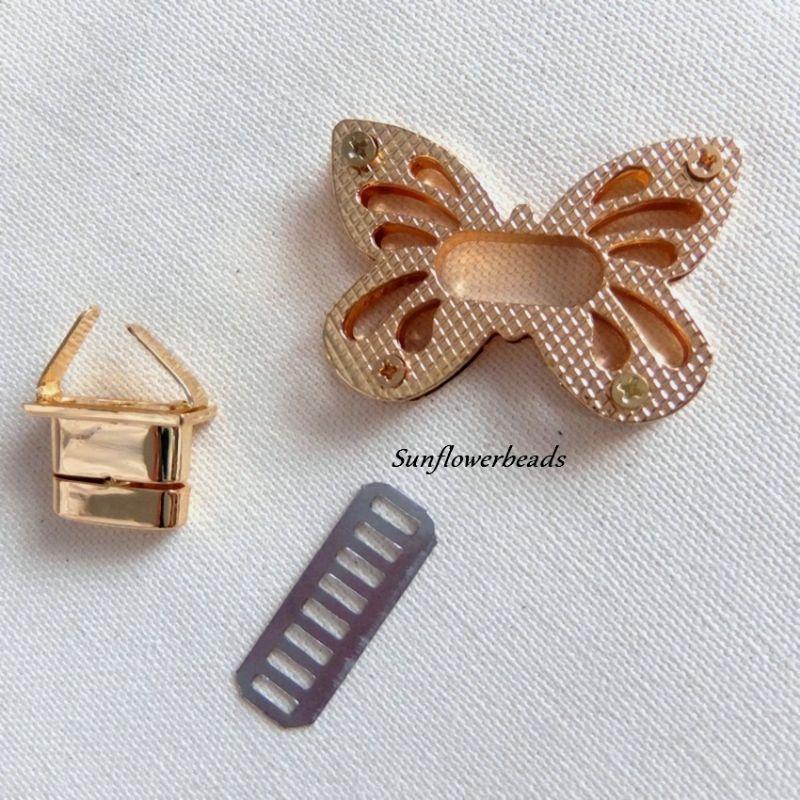 Kleinesbild - Großer Taschenverschluss gold, Drehverschluss, Schmetterling