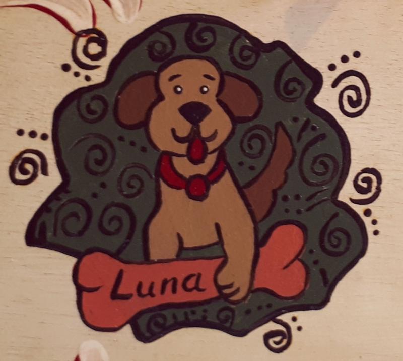 Kleinesbild - Hunde-Warnschild/Türschild/Wandschild aus Holz, mit Wunschbeschriftung, handbemalt im Bauernmalerei- und Landhaus-Stil -Deutsche Handarbeit-   ***Versandkostenfrei***