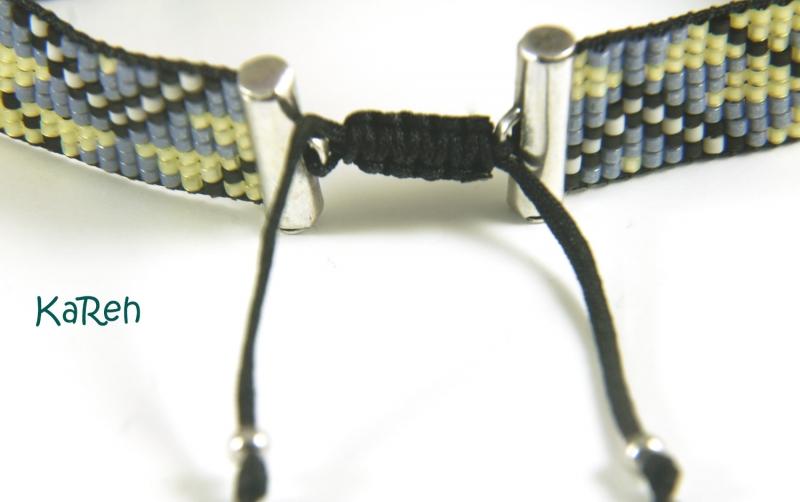 Kleinesbild - handgewebtes Armband mit Ethnomuster in Blau, Gelb, Schwarz und Creme  (Kopie id: 100184327)