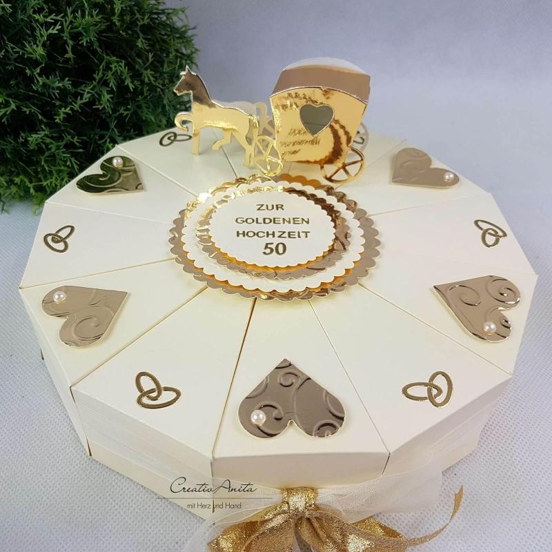 Geldgeschenk Geschenkverpackung Schachteltorte Goldene Hochzeit