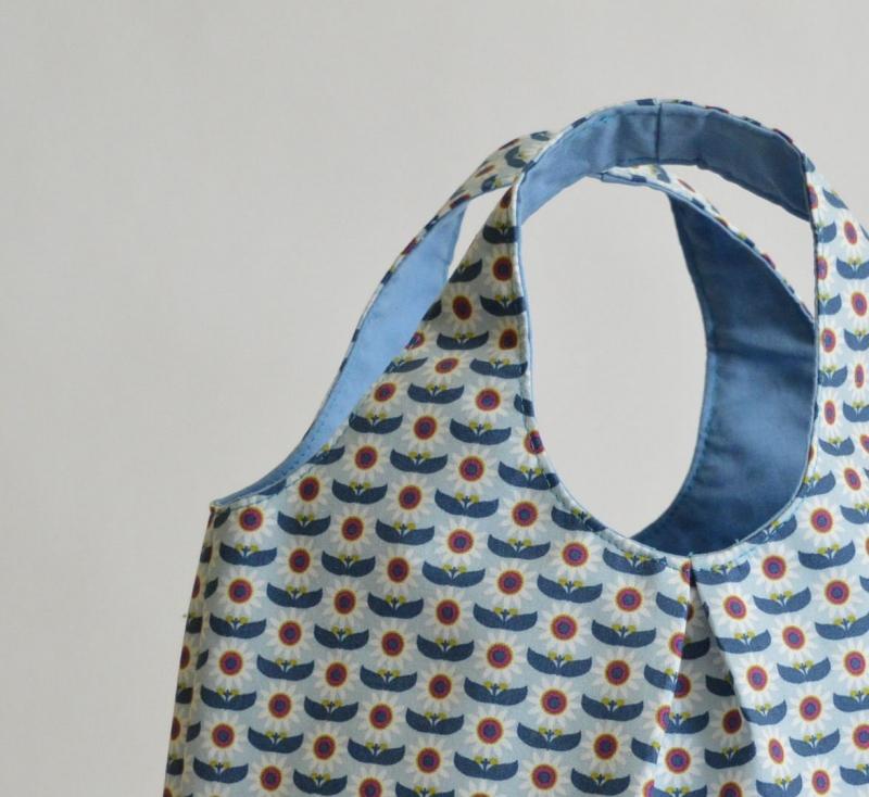 Kleinesbild - Handtasche, Tasche, Baumwolltasche, Motiv Blumen, blau