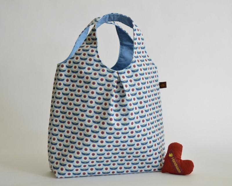 - Handtasche, Tasche, Baumwolltasche, Motiv Blumen, blau - Handtasche, Tasche, Baumwolltasche, Motiv Blumen, blau