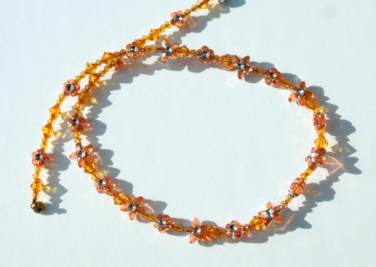 - Kinder Halskette BLÜTEN und STERNE gelb orange leicht romantisch - Kinder Halskette BLÜTEN und STERNE gelb orange leicht romantisch
