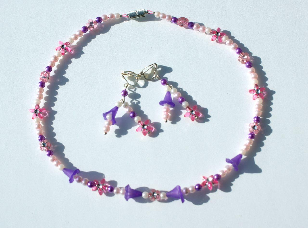 Kleinesbild - Ohrclips für Mädchen mit Blütenkelchen lila rosa