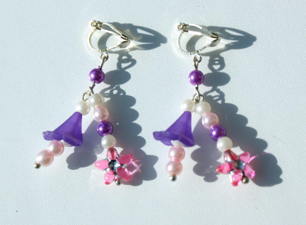 - Ohrclips für Mädchen mit Blütenkelchen lila rosa - Ohrclips für Mädchen mit Blütenkelchen lila rosa